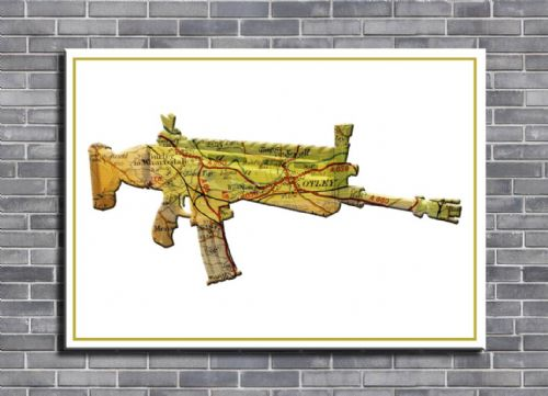 GAMES - FORTNITE SCAR PERSONALISED MAP ART canvas print - self adhesive poster - photo print